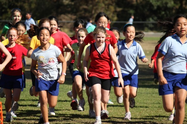 Group of students running for sport