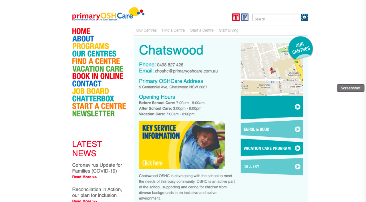 Screenshot of the PrimaryOSHCare website